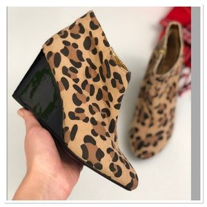 Sole Desire leopard print wedge ankle booties